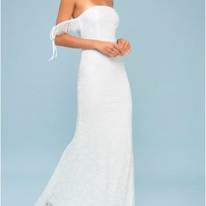 Piper White Lace Off-the-Shoulder Maxi Dress
